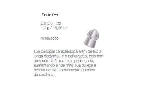Chumbinho 5.5 Carabina De Pressão Sonic 500 Un Frete Gratis