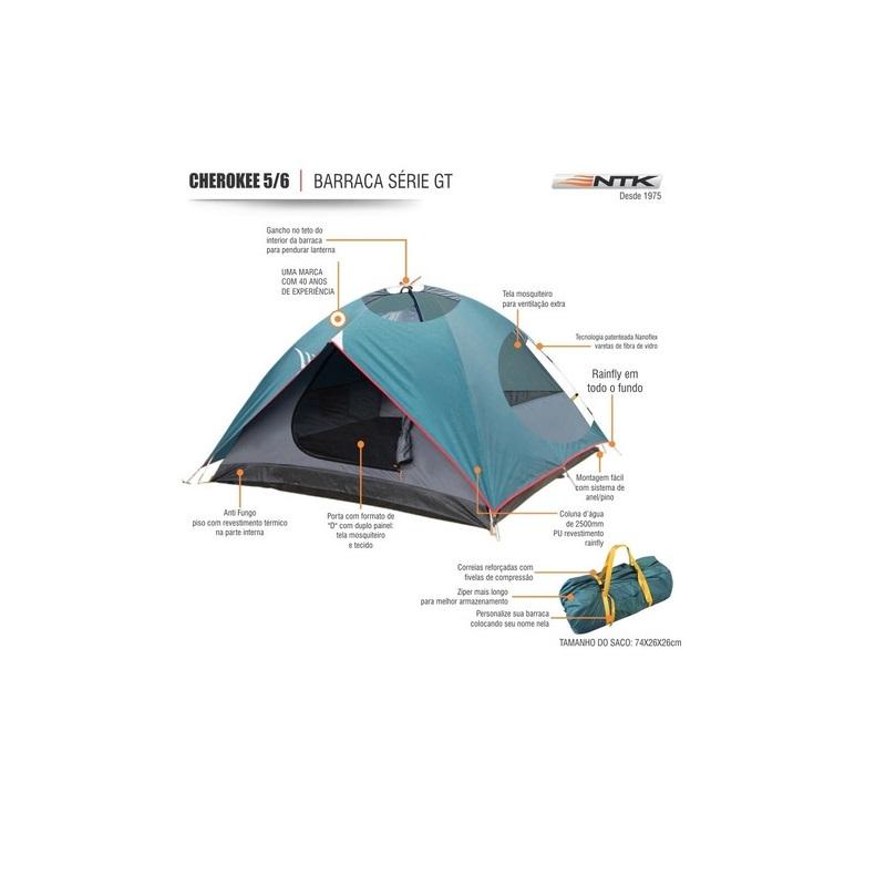 Barraca de camping cherockee GT 5/6 pessoas alta resistência