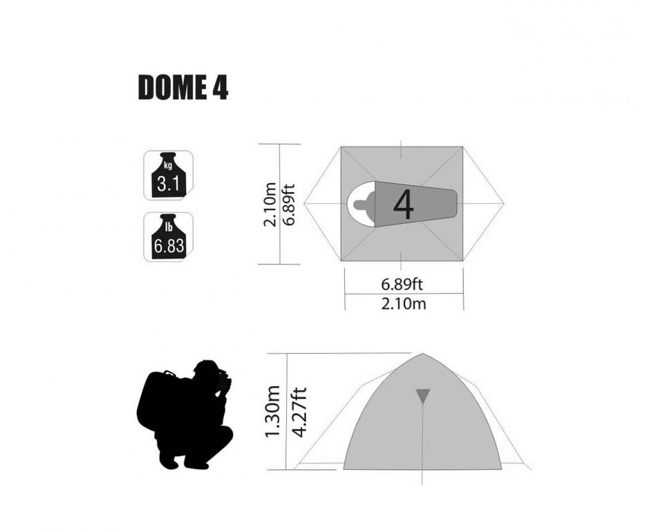 Barraca De Camping Dome 4 Pessoas NKT