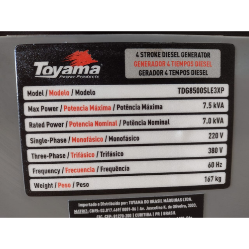 Gerador portátil Toyama TDG8500SLE3XP 6000W trifásico com tecnologia AVR 380V
