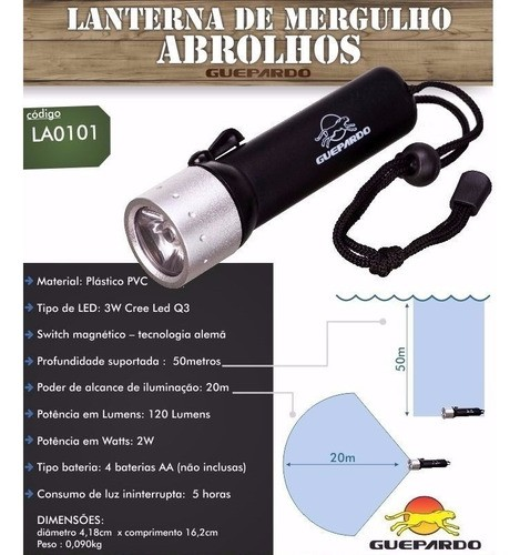 Lanterna De Mergulho Led Abrolhos Guepardo