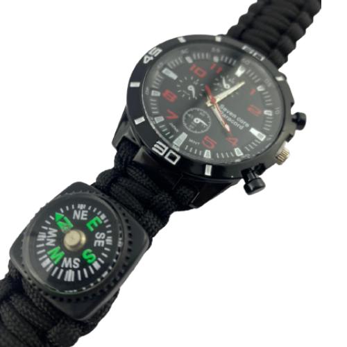 Relógio Tático Sobrevivência Paracord Pederneira Bussola 5x1