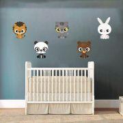 Adesivo leão, panda, tigre, urso e coelho