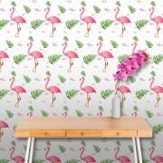 Papel de Parede ADESIVO - flamingos rosas