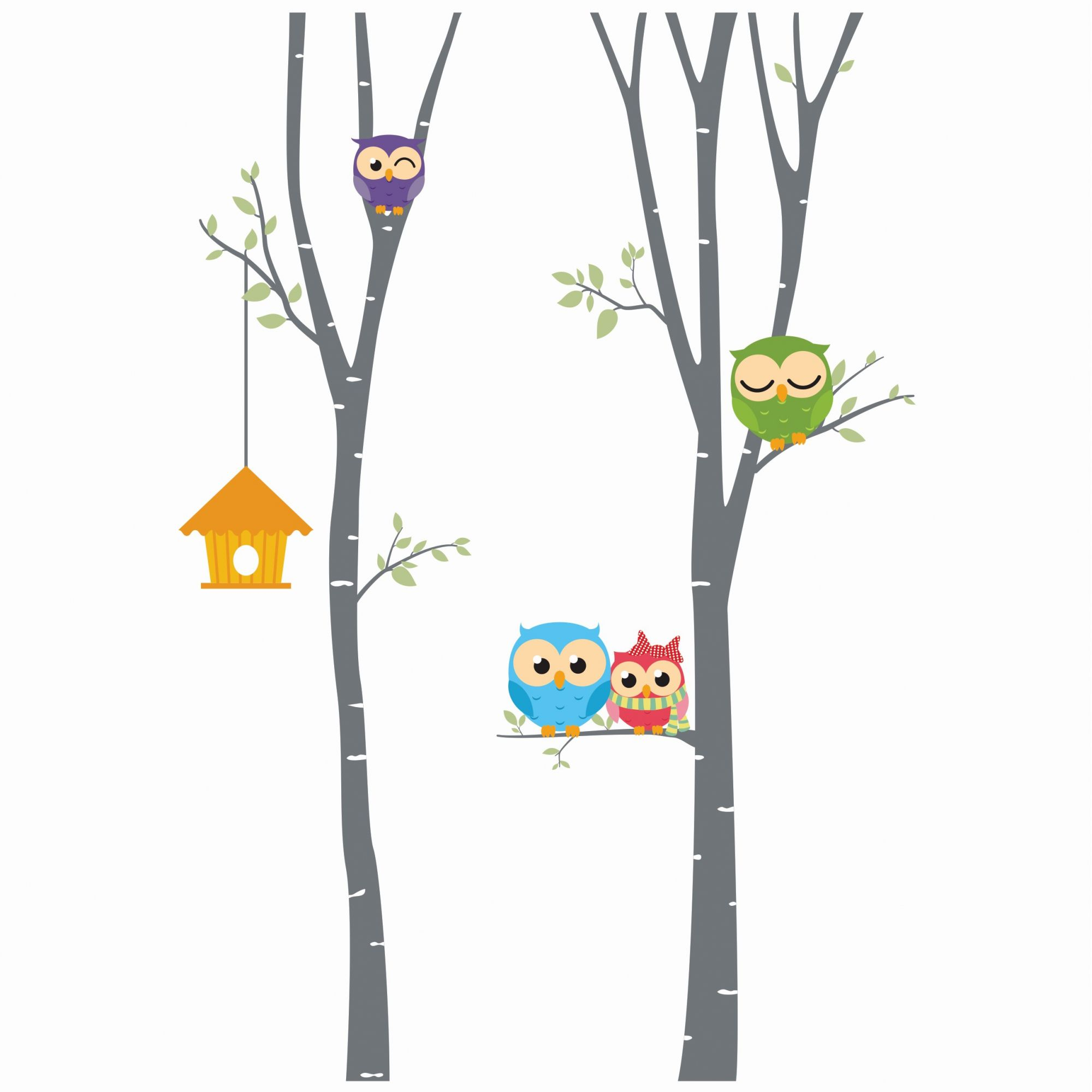 Adesivo árvores corujas menor