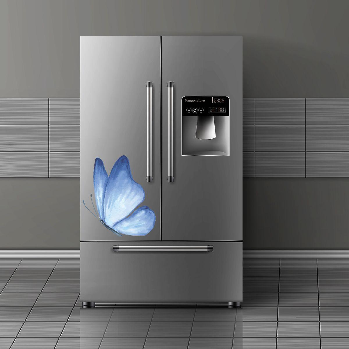 Adesivo de geladeira Borboleta Azul Aquarelada