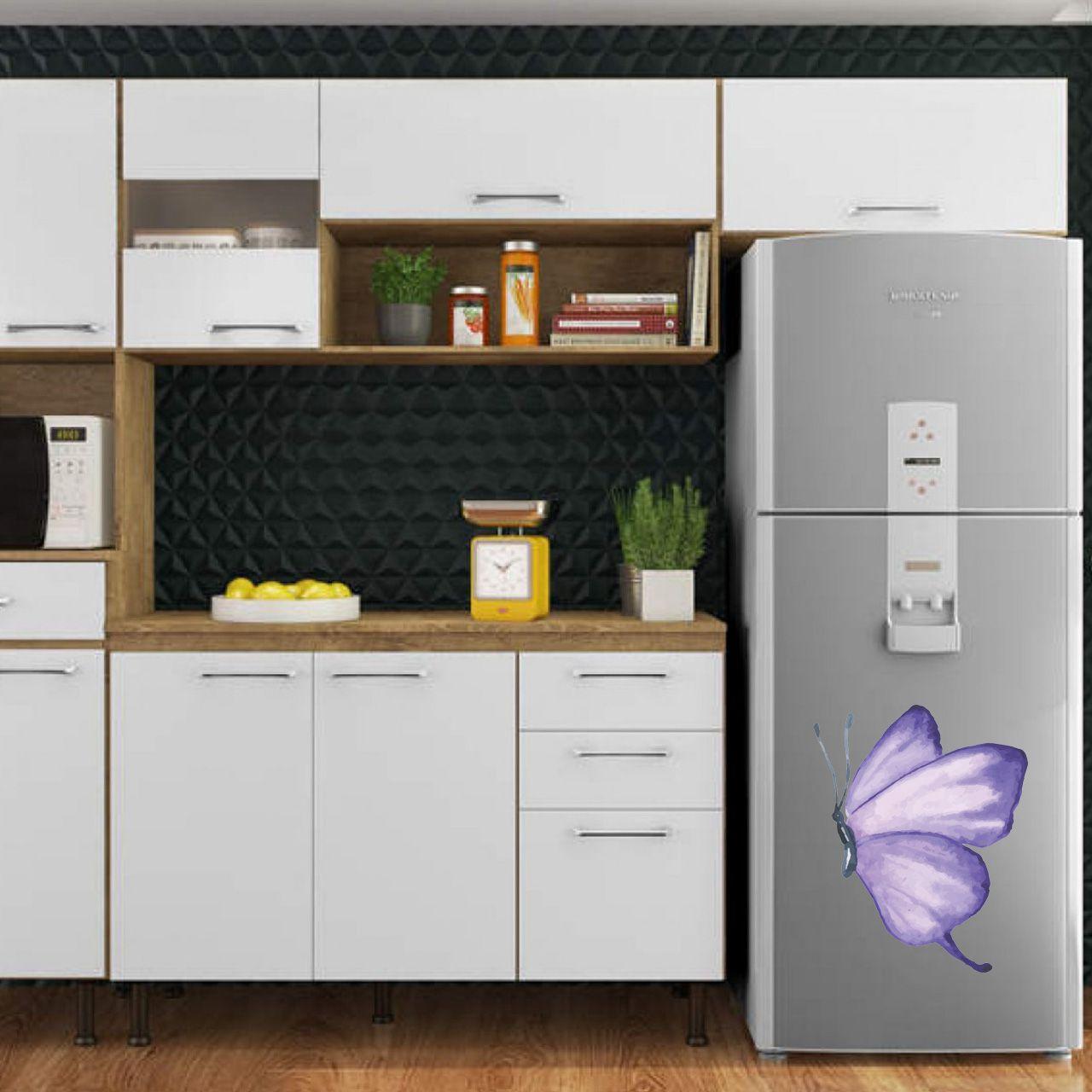 Adesivo de geladeira Borboleta Lilás Aquarelada