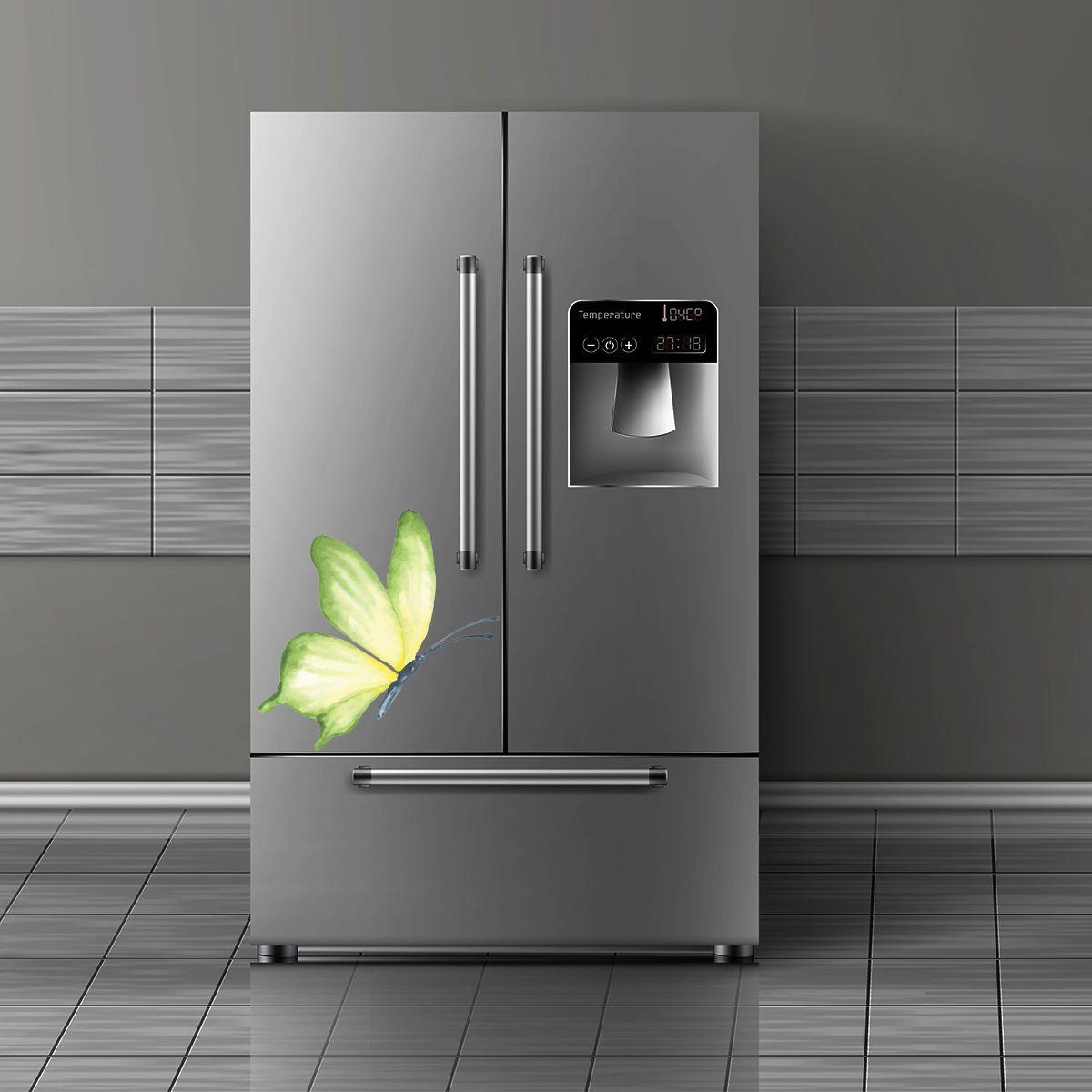 Adesivo de geladeira Borboleta Verde Aquarelada