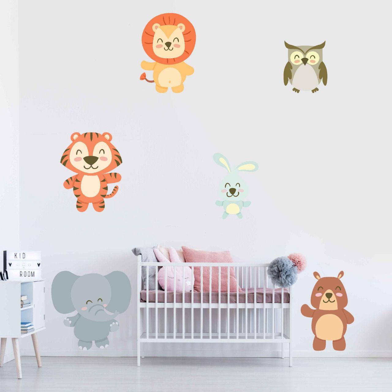 Adesivo leão, elefante, tigre, urso, coruja e coelho