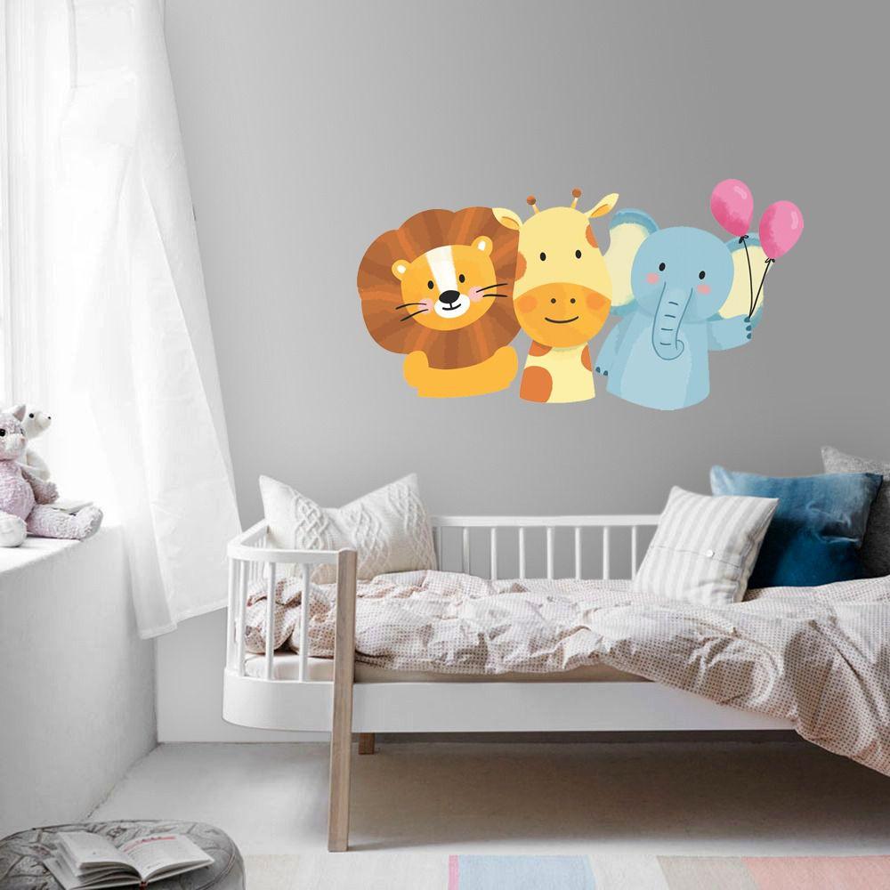 Adesivo leão, girafa e elefante