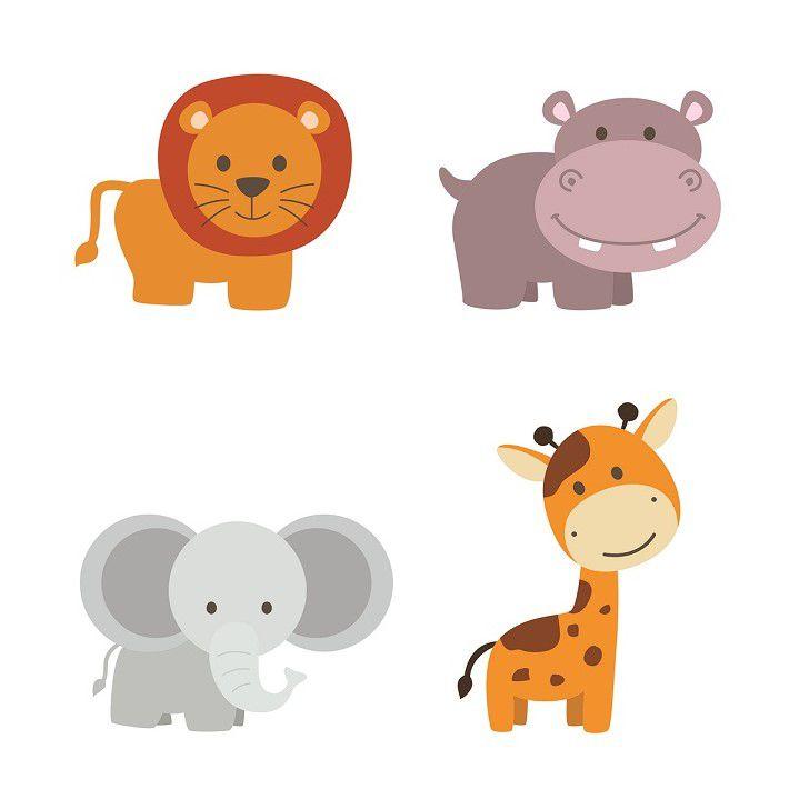 Adesivo leão, hipopótamo elefante e girafa