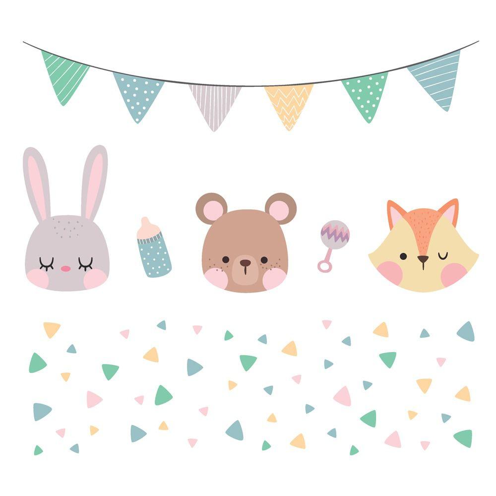 Adesivo varal, coelho, urso, raposa e triângulos