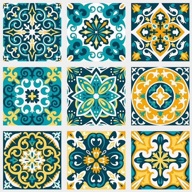 Papel de Parede ADESIVO - azulejos verde e amarelo