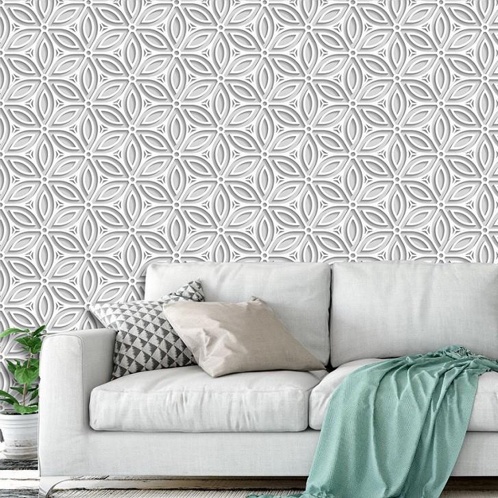 Papel de Parede ADESIVO - 3D floral branco