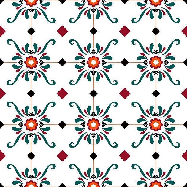 Papel de Parede ADESIVO - azulejo verde e vermelho