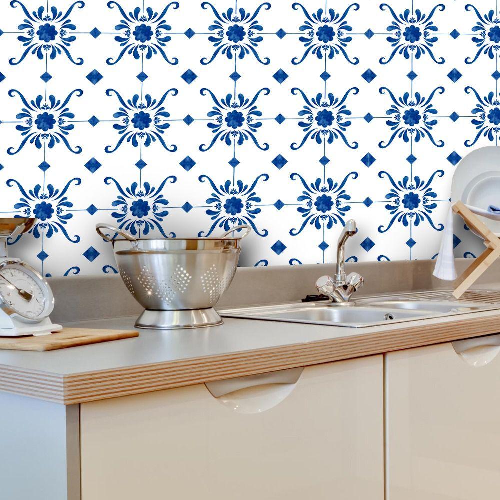 Papel de Parede ADESIVO - Azulejos Azuis