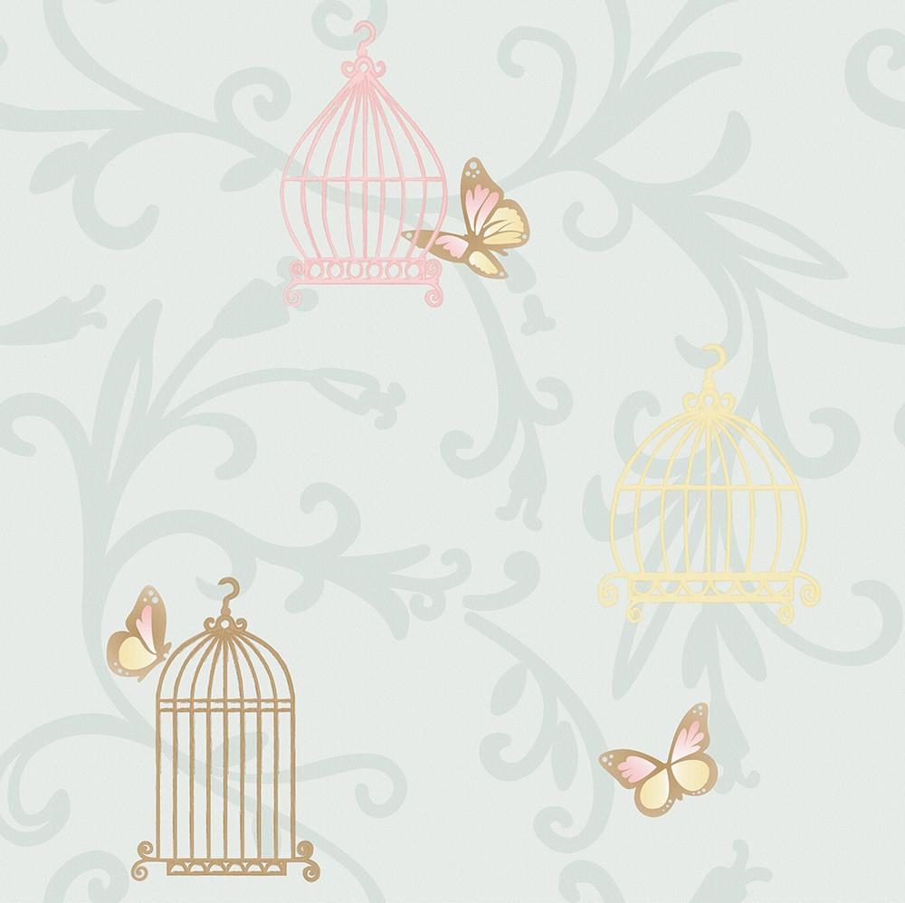 Papel de Parede ADESIVO - borboletas e gaiolas