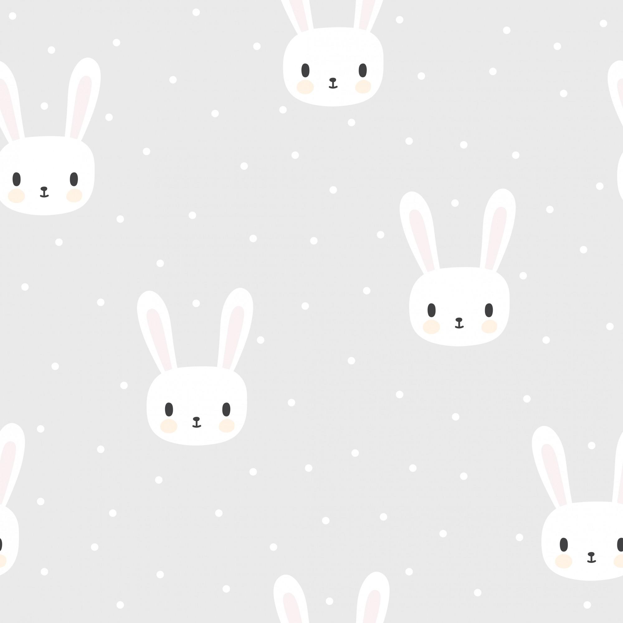 Papel de Parede ADESIVO - coelhos brancos
