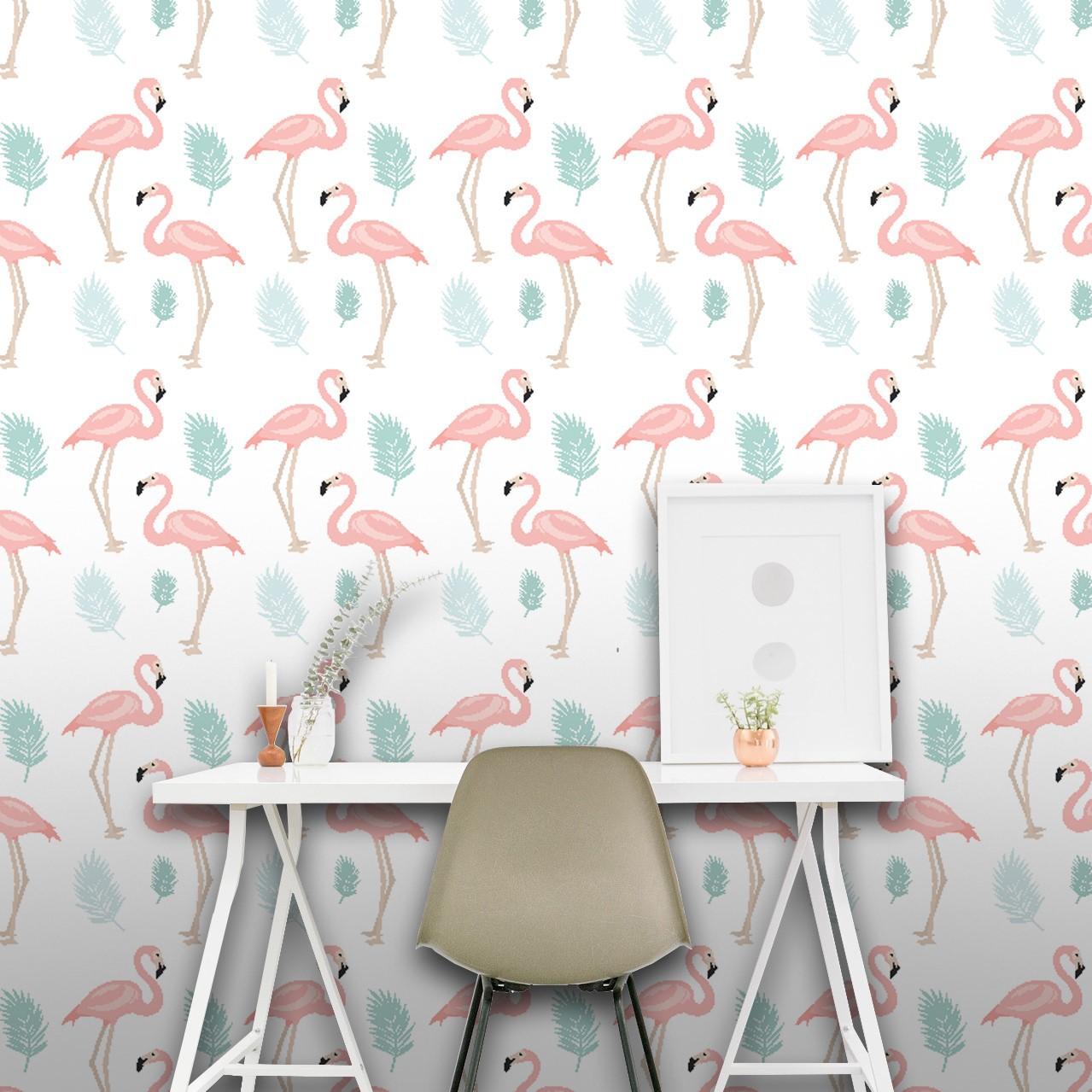 Papel de Parede ADESIVO - flamingos