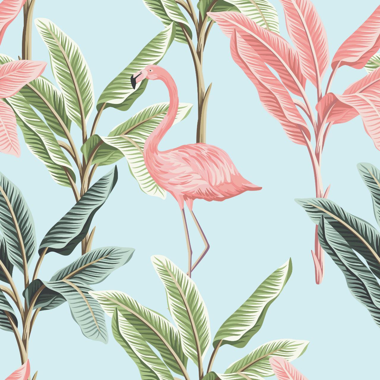 Papel de Parede ADESIVO - flamingos e folhas