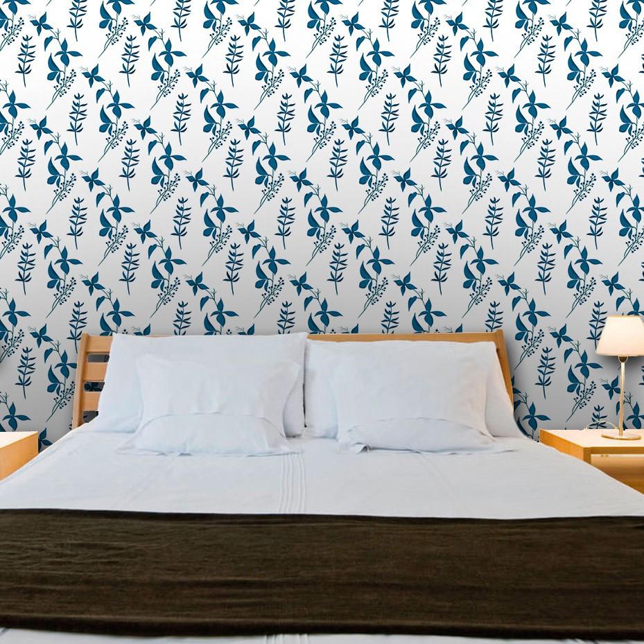 Papel de Parede ADESIVO - Floral azul