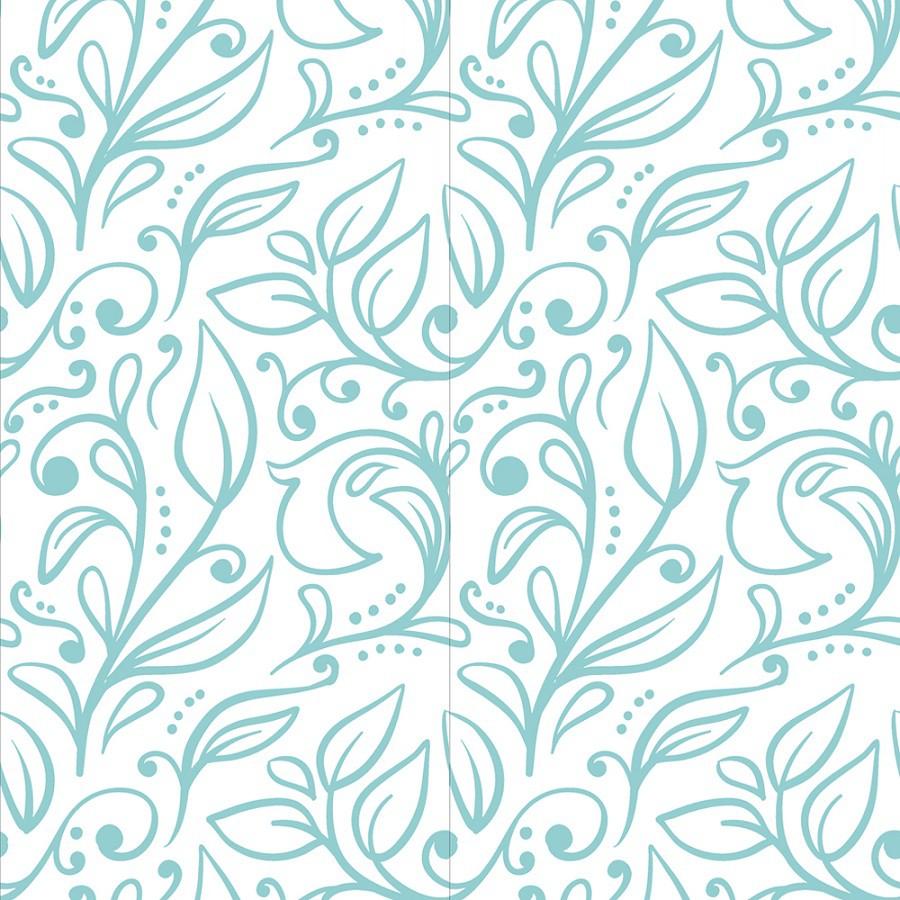 Papel de Parede ADESIVO - Floral azul claro