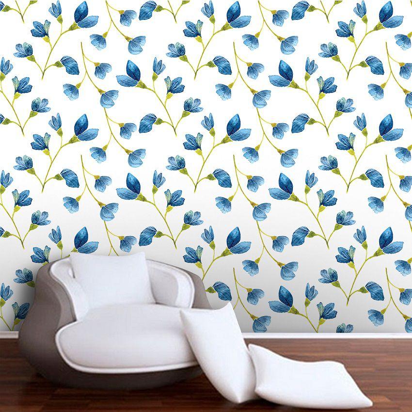 Papel de Parede ADESIVO - floral azul escuro