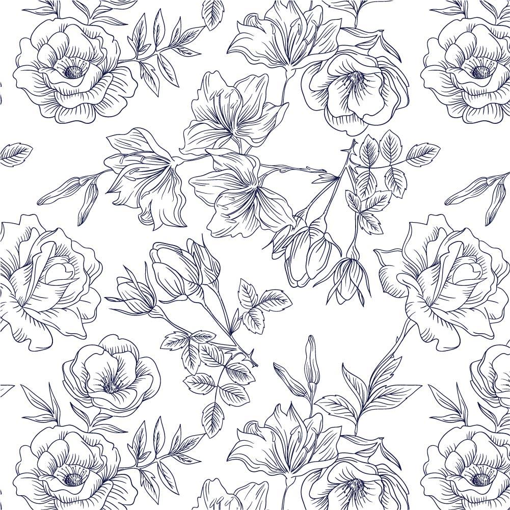 Papel de Parede ADESIVO - floral desenhado