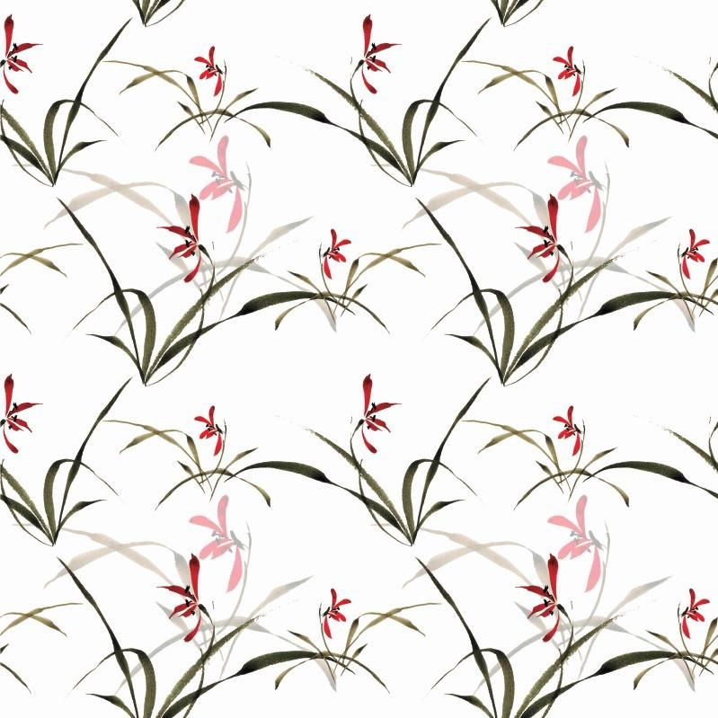 Papel de Parede ADESIVO - Floral Vermelha