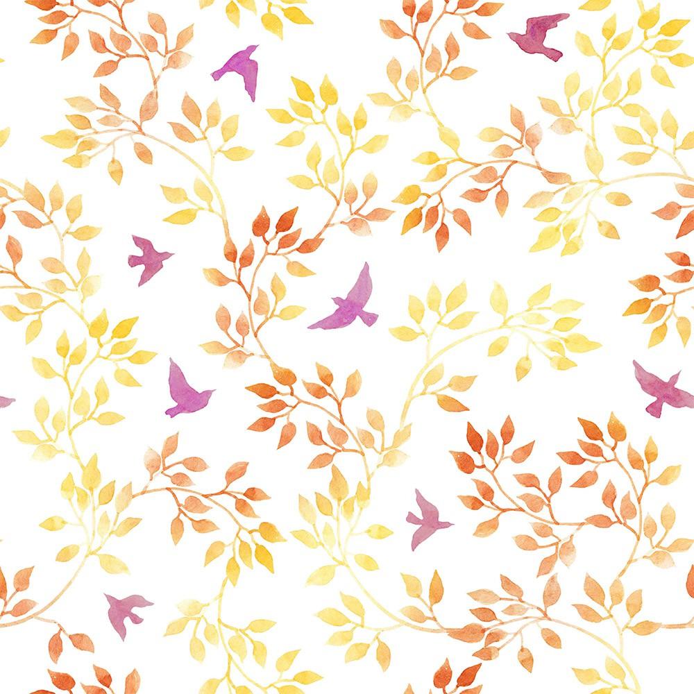 Papel de Parede ADESIVO - Folhas e Pássaros