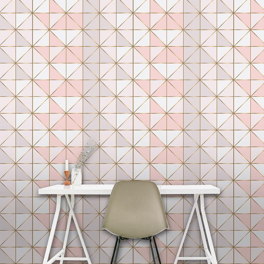 Papel de Parede  ADESIVO - Geométrico rosado