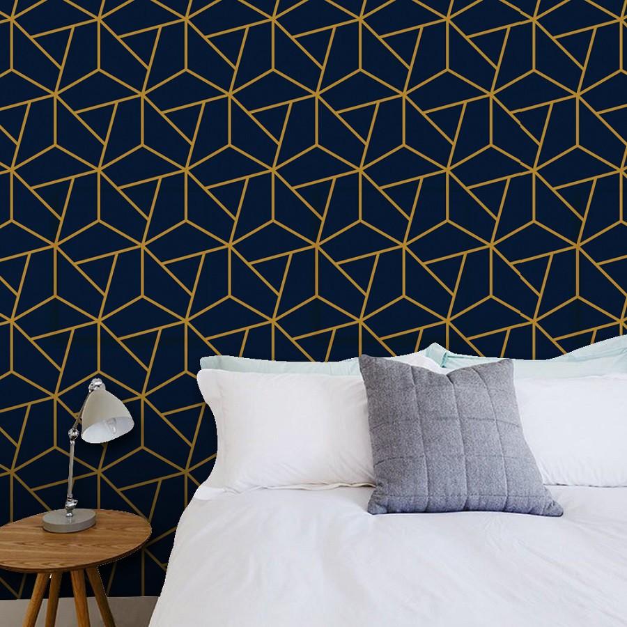 Papel de Parede ADESIVO - hexágono azul escuro