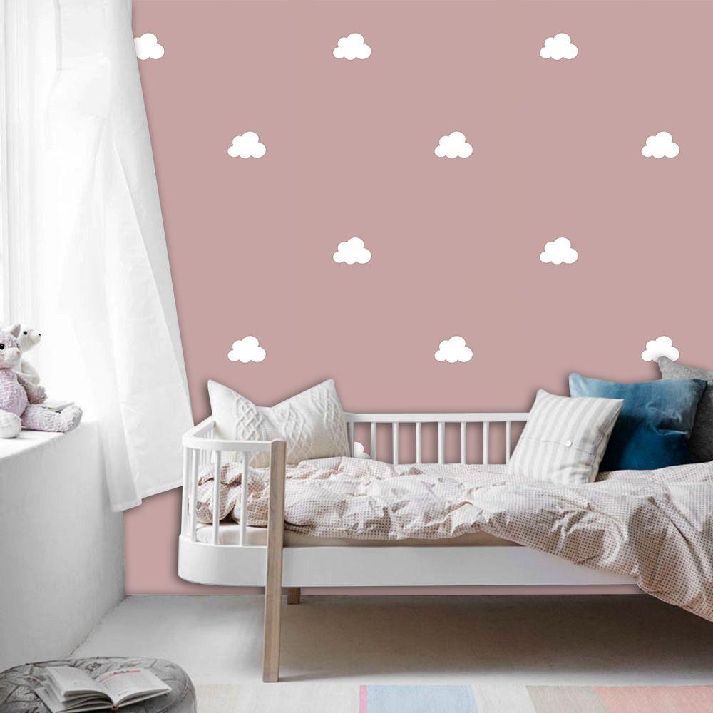 Papel de Parede ADESIVO - nuvens fundo rosa