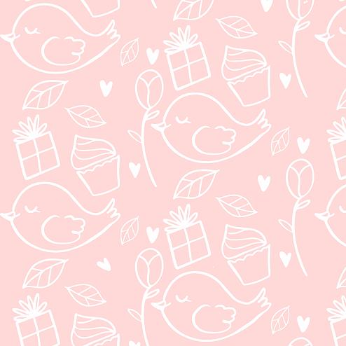 Papel de Parede ADESIVO - pássaros rosas