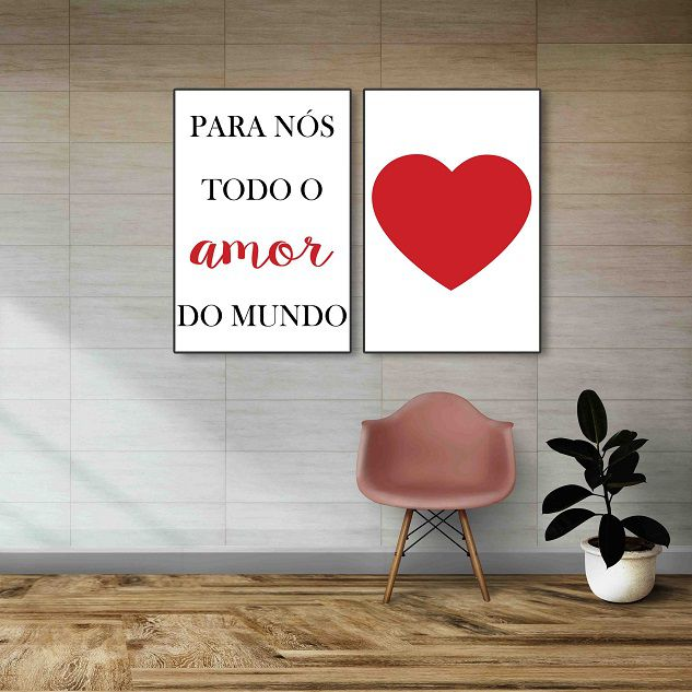 Placas decorativas em PVC - Amor
