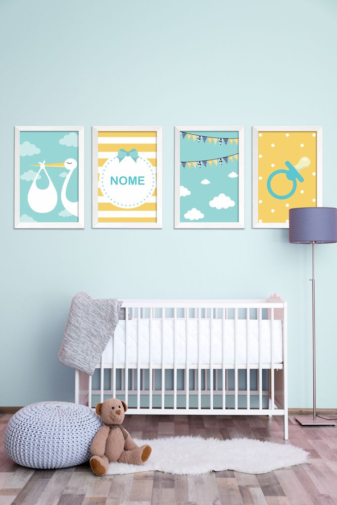 Placas decorativas em PVC - Kit 4 Infantil