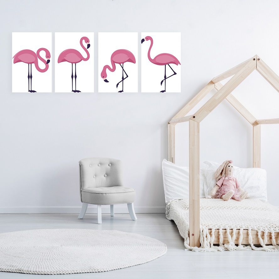 Placas decorativas em PVC - flamingos