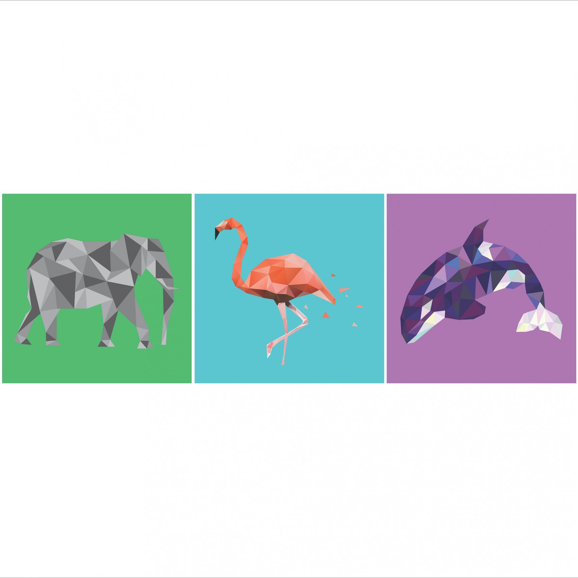 Placas decorativas em PVC - Kit 3 animais