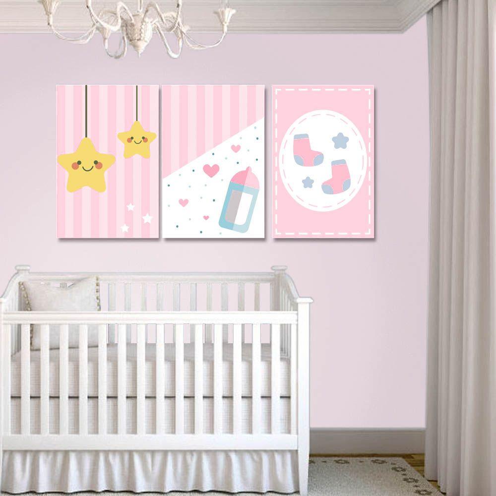 Placas decorativas em PVC - Kit 3 Infantil Menina