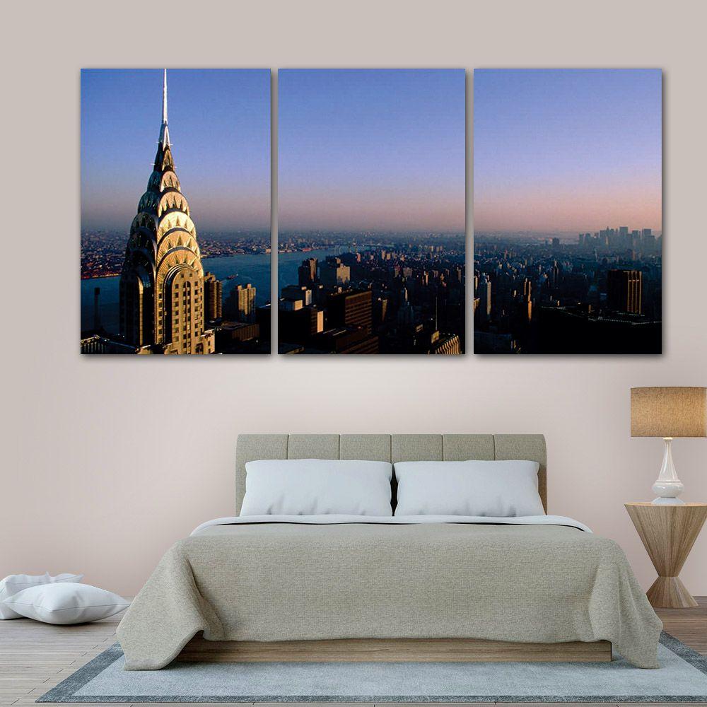 Placas decorativas em PVC - Kit 3unid. Edifícios Nova York