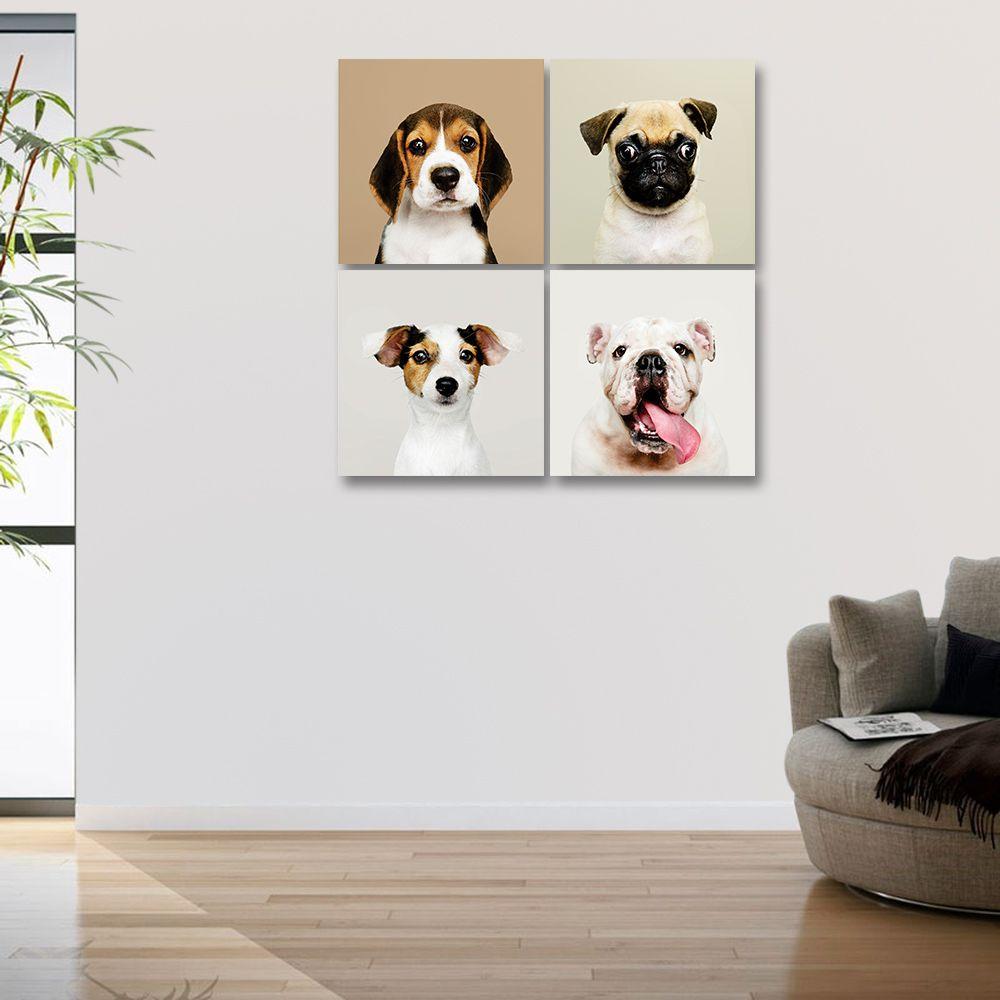 Placas decorativas em PVC - Kit 4 Cachorros
