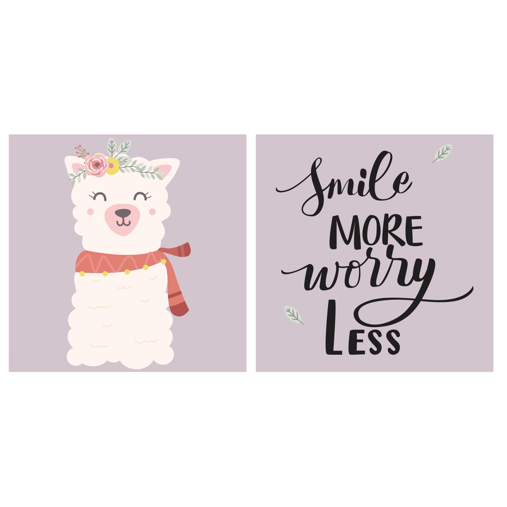 Placas decorativas em PVC - smile more worry less