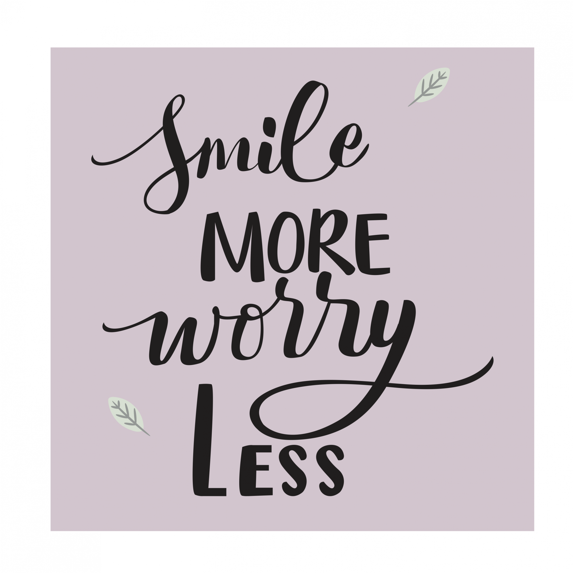 Placas decorativas em PVC - smile more worry less