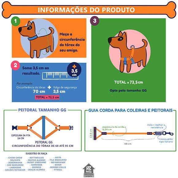 CONJUNTO DE PEITORAL E GUIA PARA CÃES EXTRA FORTES - MODELO PRETO  - PetZoo
