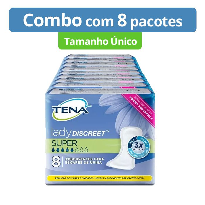 COMBO - TENA LADY DISCREET SUPER TAM ÚNICO (64 unid)