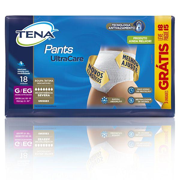 TENA PANTS ULTRA TAM G/EG - KIT 4 PACOTES C/18 UNIDS (72 UNIDS/FARDO)