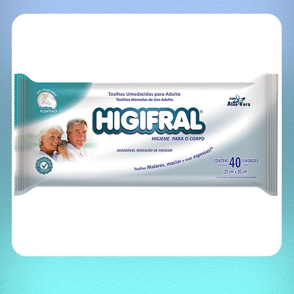 TOALHA UMEDECIDA HIGIFRAL - COM 40 UNIDADES
