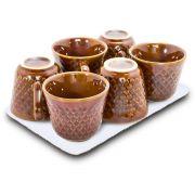 Conjunto com 6 Xícaras de Café Marrom - 60ml