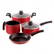 Conjunto Paneleiro com 4 Peças Vermelho Antiaderente Mr Cook