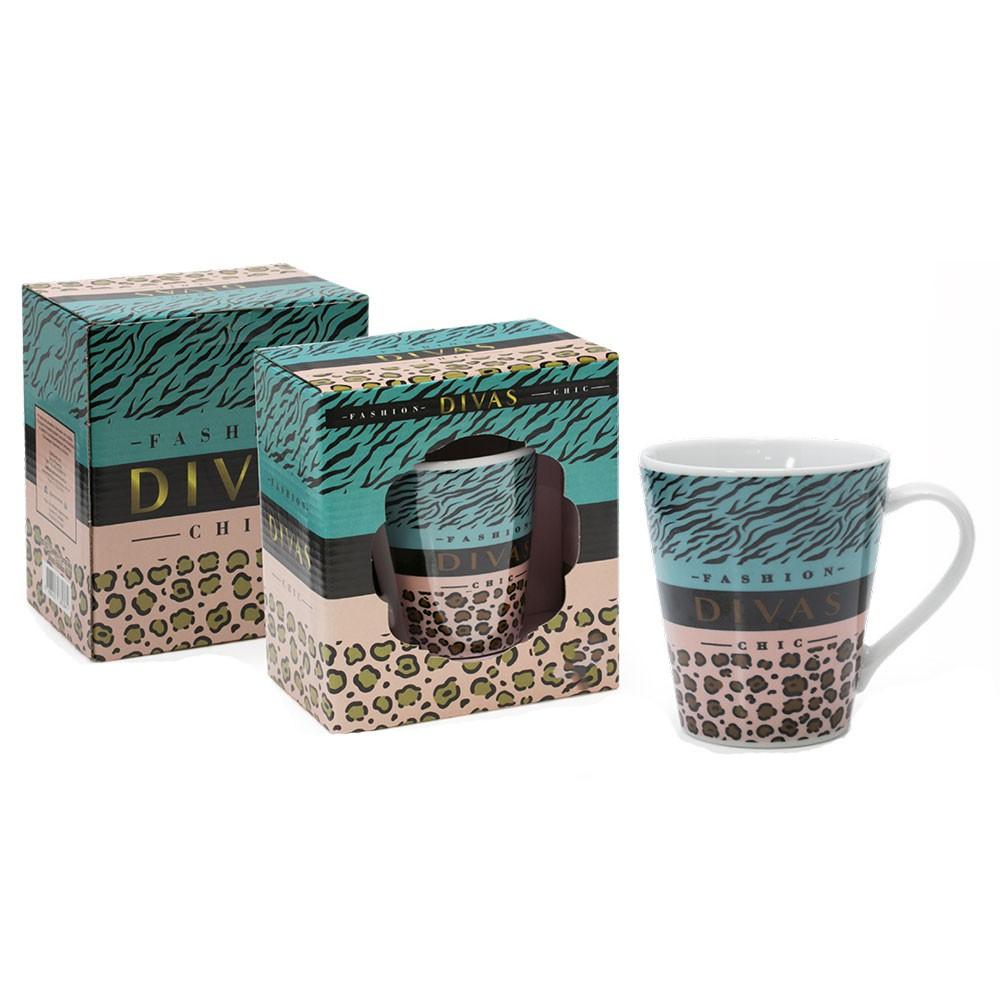 Caneca Porcelana Divas Fashion - Caixa Presente